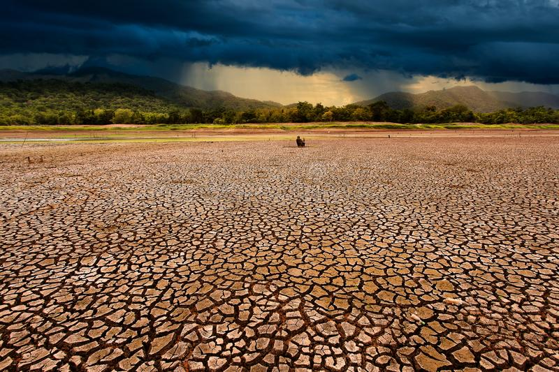 Thunder storm sky Rain clouds Cracked dry land. Abstract, agriculture, arid, background, barren, bud, clay, climate, concepts, copy, damage, dead, desert royalty free stock image