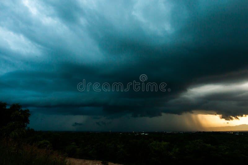 Thunder storm sky Rain clouds. Background black blue bolt dark electric electrical electricity energy light lightning nature night power sea spark stormy strike stock photography