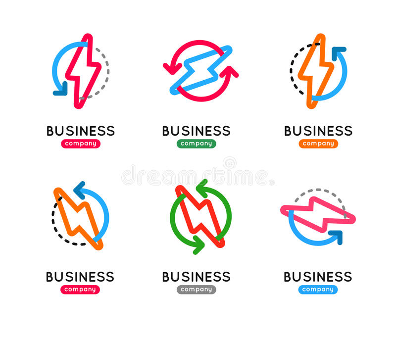 Thunderbolt icon set. Thunderbolt business logo. Thunderb vector illustration