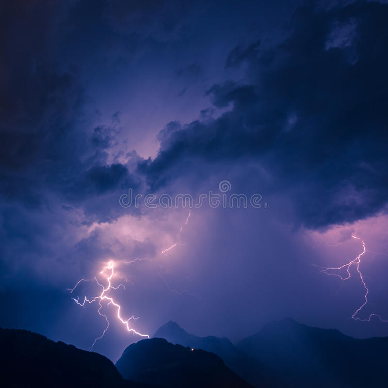 Thunderbolt. Lightning over the mountains, long exposure royalty free stock image