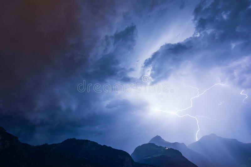 Thunderbolt. Lightning over the mountains, long exposure royalty free stock photography
