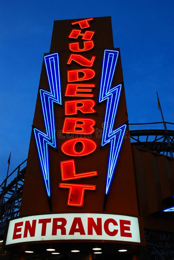 Thunderbolt. The neon Entrance of the Historic Thunderbolt Roller Coaster at Six Flags New England in Agawam, Massachusetts stock photography