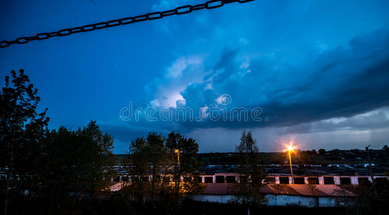 Thunderbolt over the houses stock photography