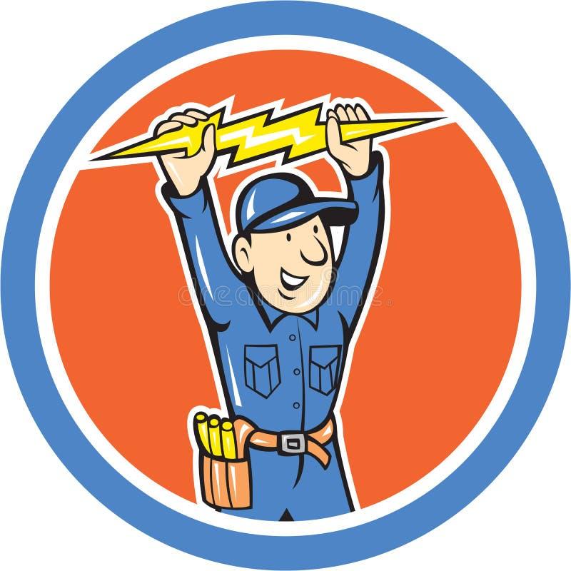 Thunderbolt Toolman Electrician Lightning Bolt Cartoon vector illustration
