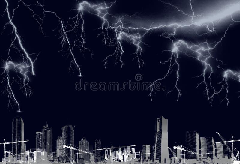 Thunderbolts и разбалластование ночи иллюстрация вектора