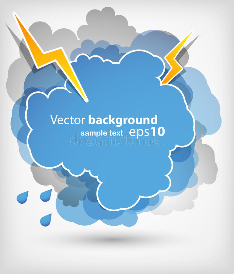 Thundercloud with lightnings vector illustration