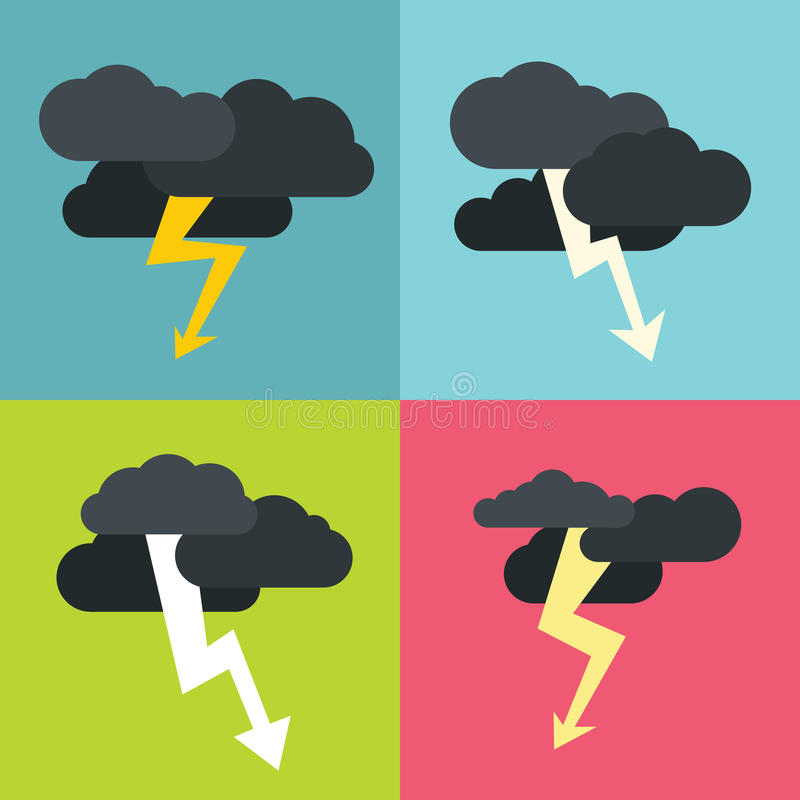 Thunderclouds flat icons on color background stock illustration
