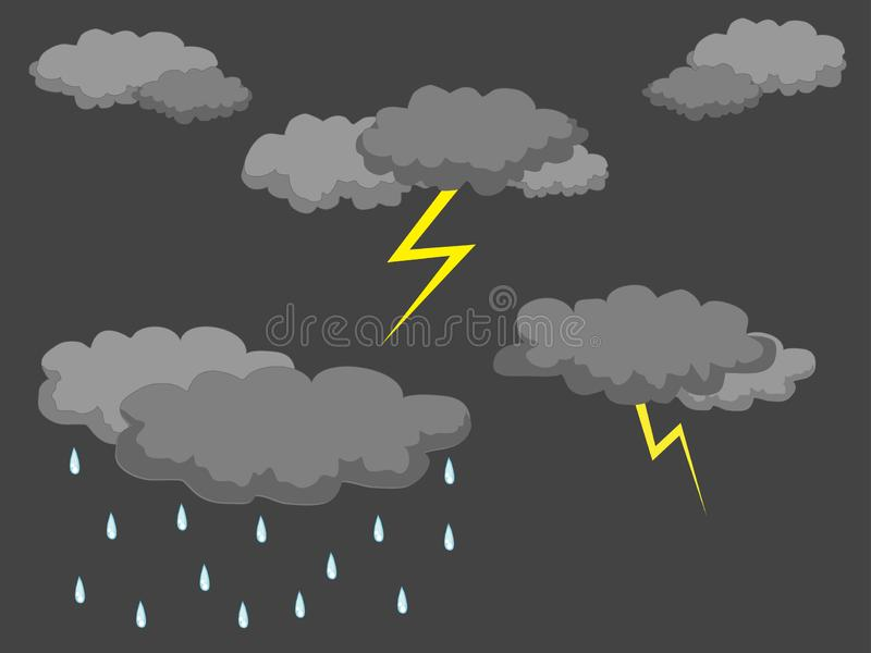 Thunderclouds and lightning vector illustration