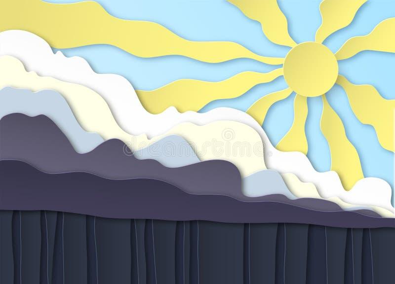 thunderclouds Lluvia en la tierra, aguacero Sobre las nubes el sol brilla en el cielo azul Dise?o acodado Corte de Peper libre illustration