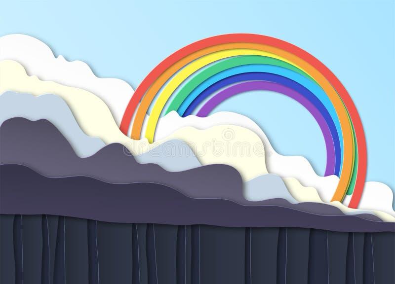 thunderclouds Lluvia en la tierra, aguacero Sobre las nubes un arco iris en el cielo azul Dise?o acodado Corte de Peper stock de ilustración