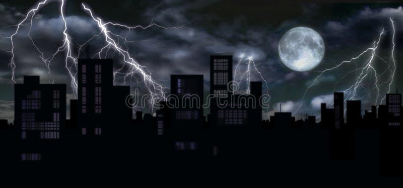 Thunders & full moon over city stock illustration