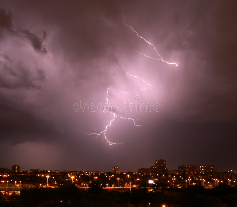 Download Thunderstorm stock photo. Image of violet, clouds, thunderstorm - 9299866