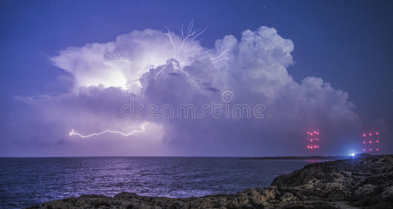 Thunderstorm from Cavo Greco royalty free stock photo