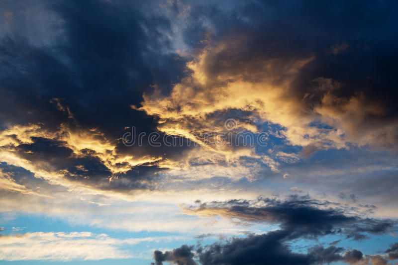 Thunderstorm cloud at sunset. Beautiful thunderstorm cloud at sunset royalty free stock photos