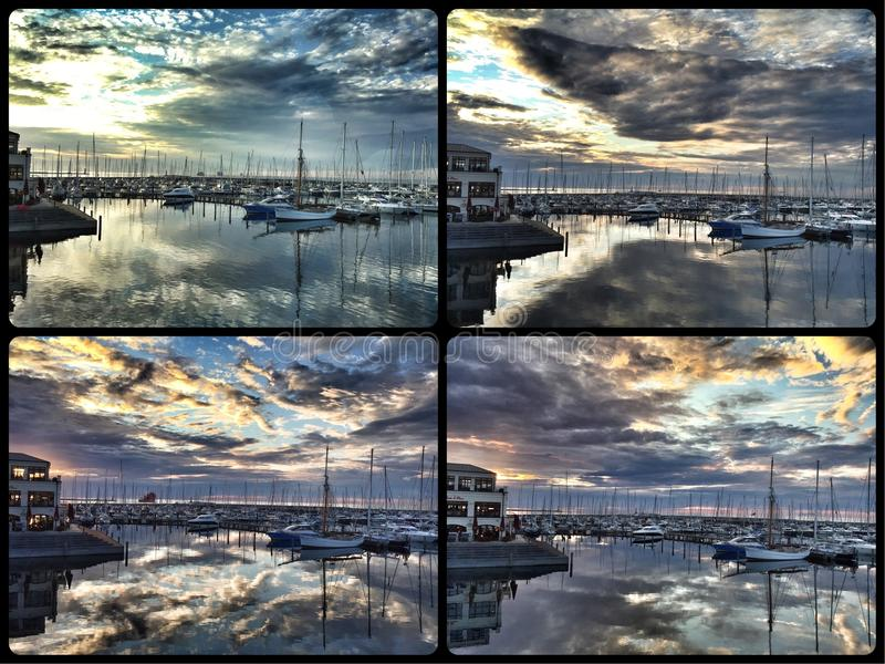 Thunderstorm cloud at sunset collage royalty free stock photos