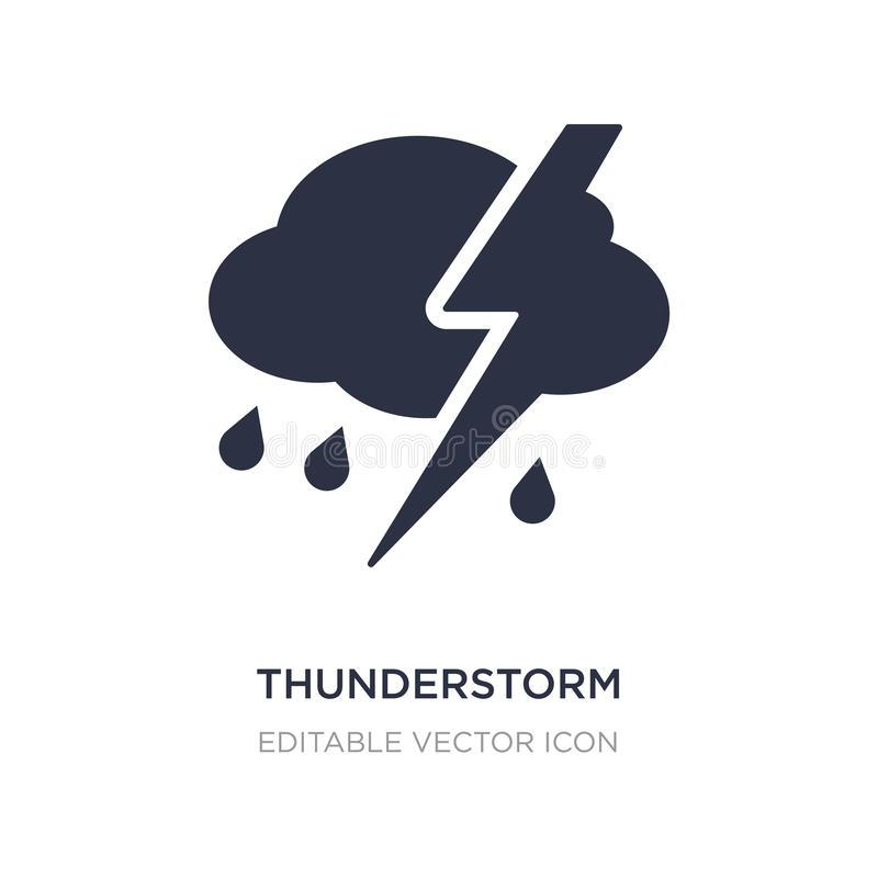 Thunderstorm clouds icon on white background. Simple element illustration from Weather concept. Thunderstorm clouds icon symbol design stock illustration