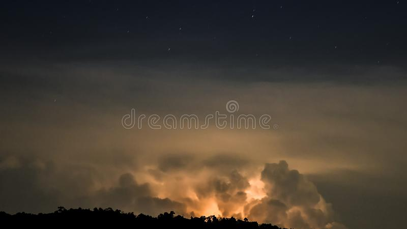 Thunderstorm Clouds with Lightning stock images