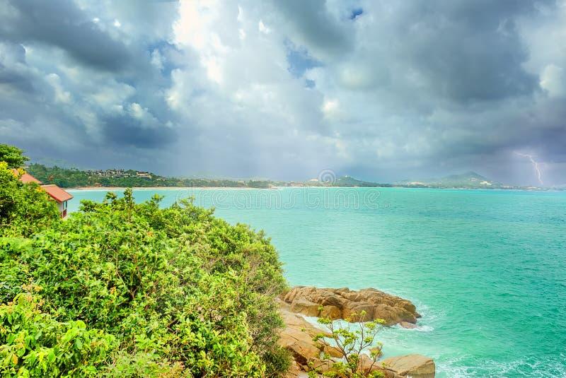 Thunderstorm on the coast of Phuket, Thailand royalty free stock image