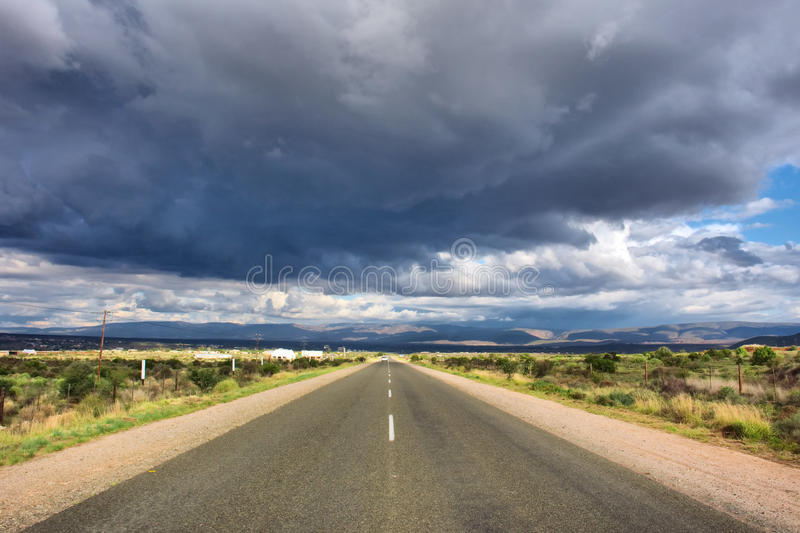 Thunderstorm is coming. Shot on R62 road, near Oudtshoorn, Western Cape, South Africa stock images