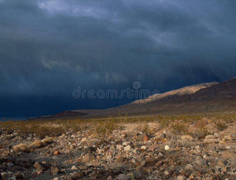 Thunderstorm in the Death Valley high country, Amargosa Range, Death Valley National park, California stock images