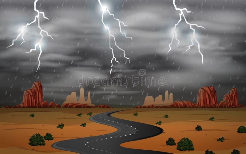 Thunderstorm at desert landscape royalty free illustration