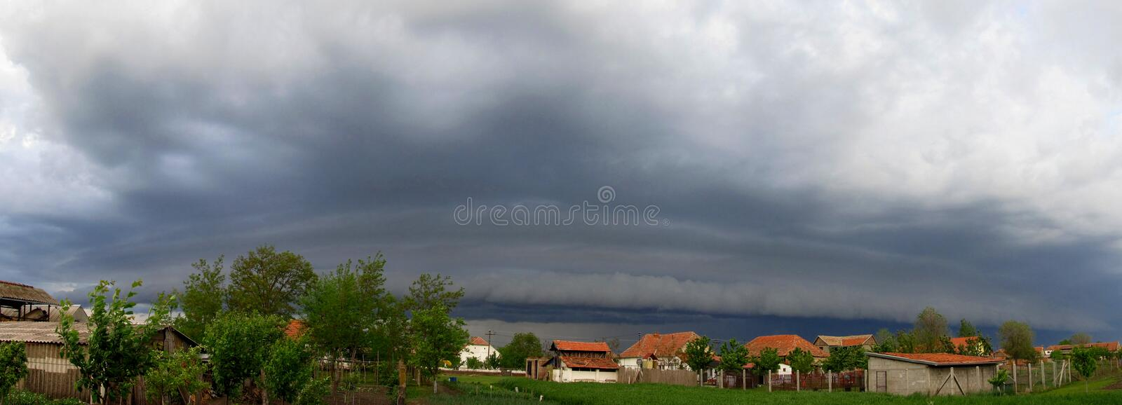 Thunderstorm with dramatic shelf cloud stock image