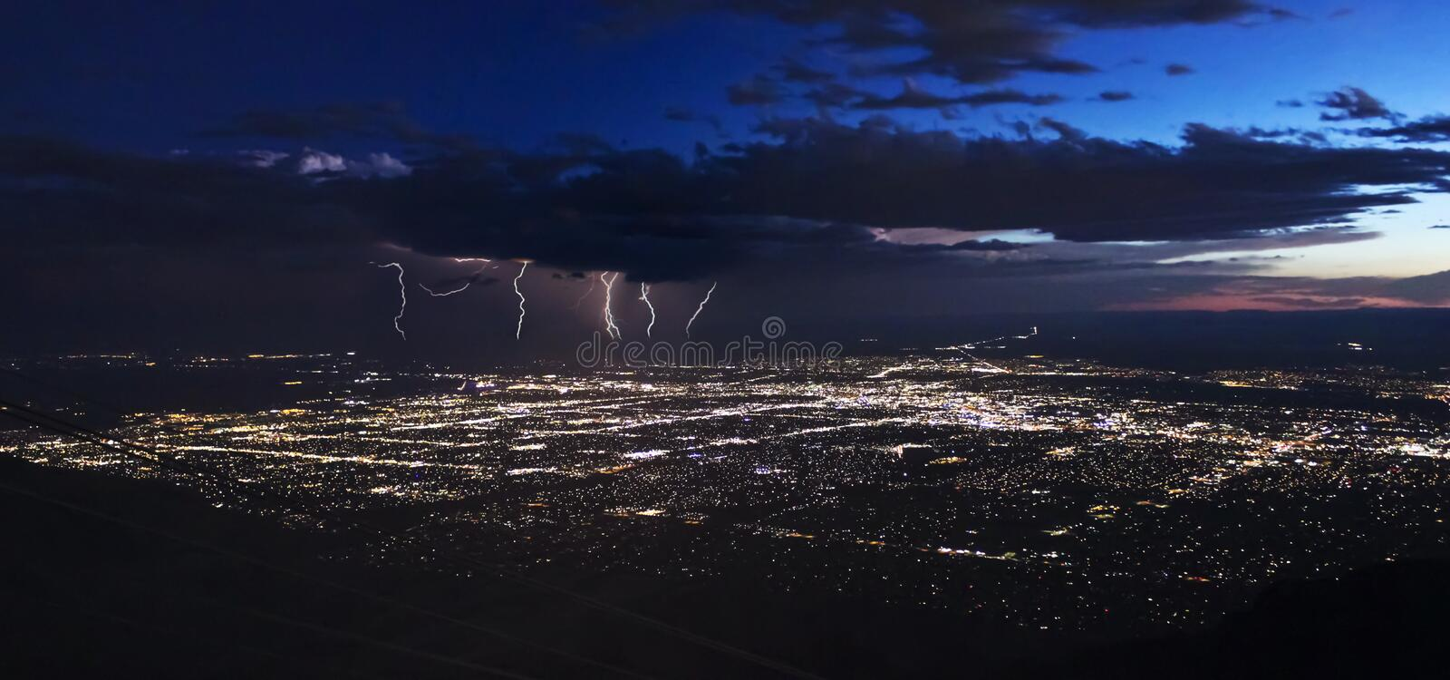A Thunderstorm After Dusk Over Albuquerque, New Mexico royalty free stock photography