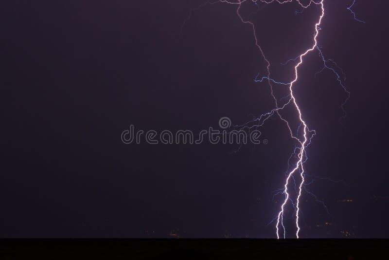 Lightning storm at Lake Garda stock image