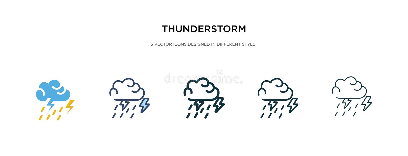 Thunderstorm icon in different style vector illustration. two colored and black thunderstorm vector icons designed in filled, stock illustration