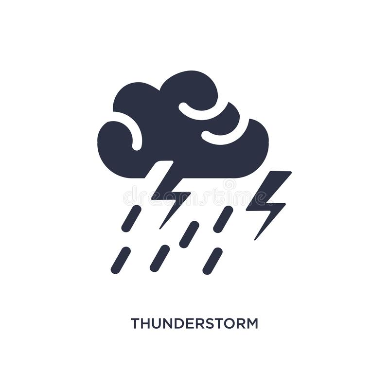 thunderstorm icon on white background. Simple element illustration from weather concept vector illustration