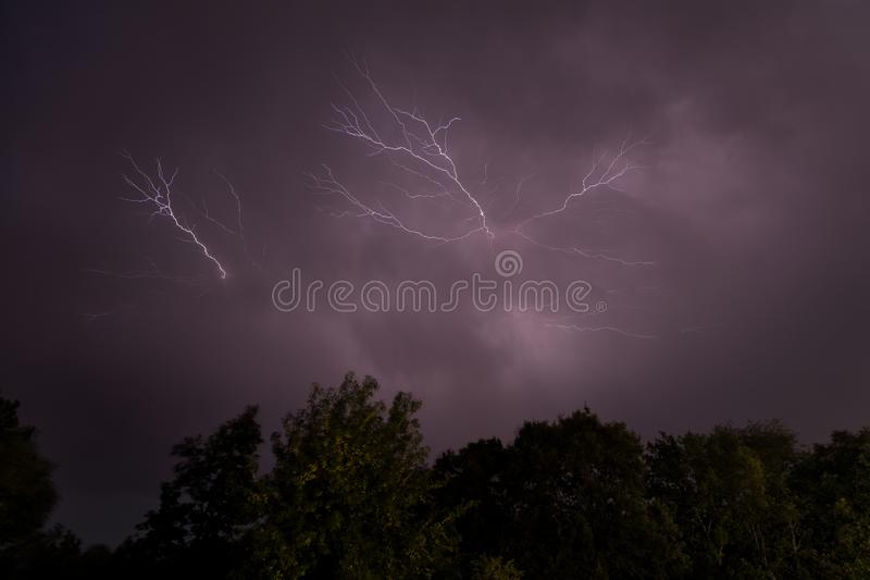 Thunderstorm, lighting and thunder in a storm in Caceres stock images