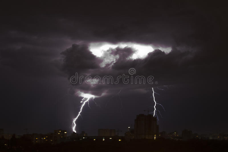 Thunderstorm with lightnings stock photo