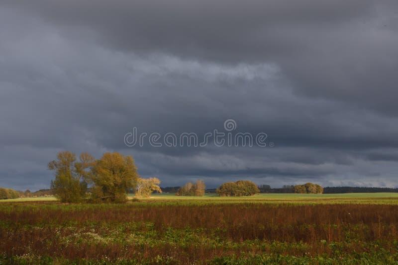 Thunderstorm mood in autumn stock image