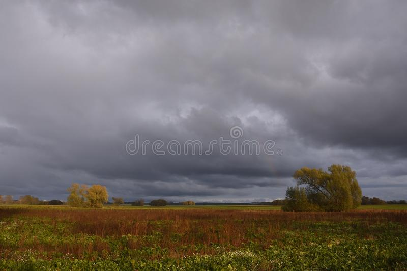Thunderstorm mood in autumn stock photography