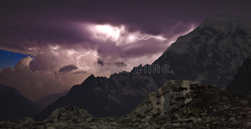 Thunderstorm in the mountains royalty free stock photography