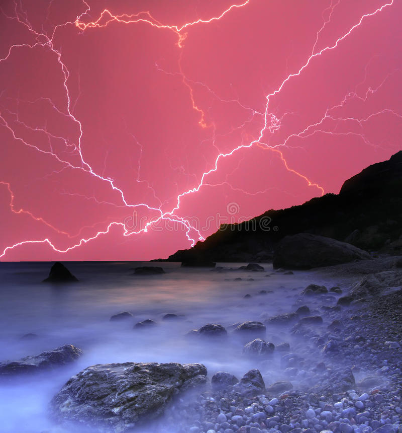 Thunderstorm in the ocean stock photos
