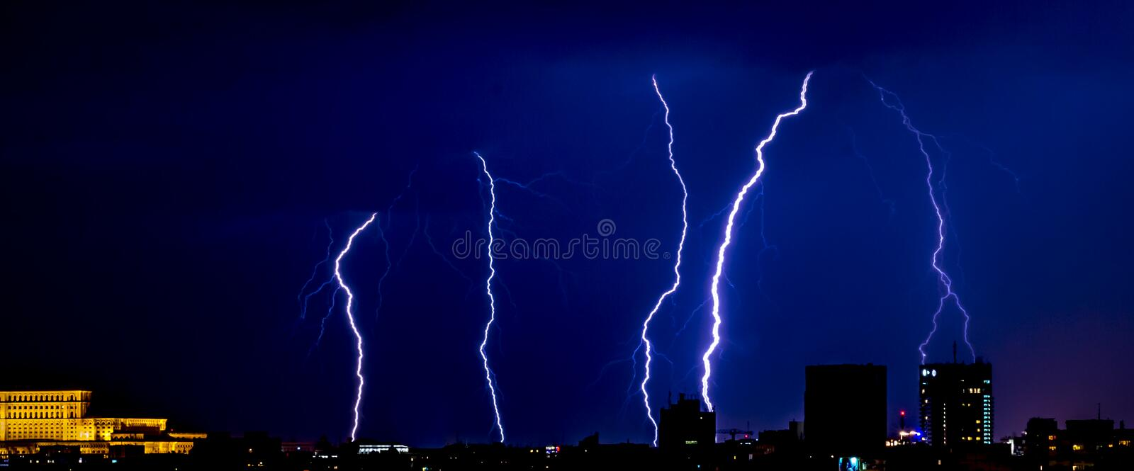 Thunderstorm over the city of Bucharest, Romania royalty free stock photos