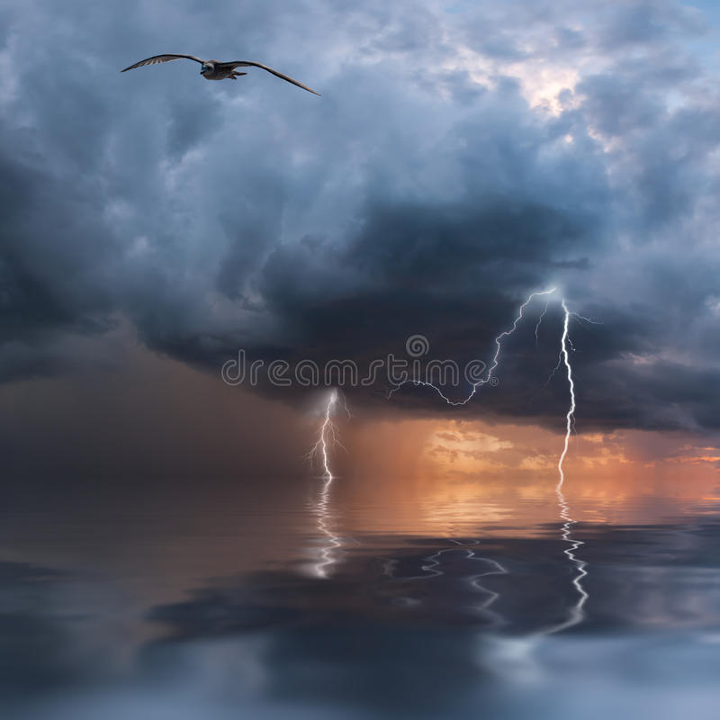 Download Thunderstorm over ocean stock photo. Image of design - 33313500
