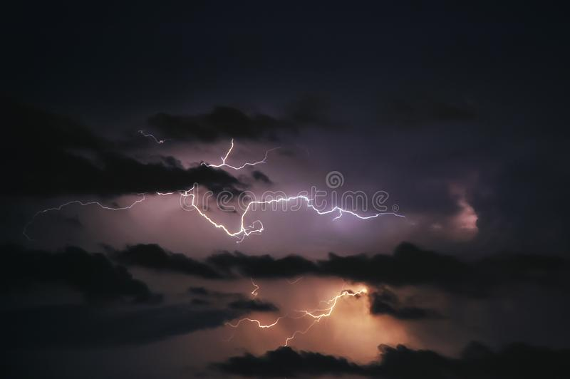 Thunderstorm in Poland. Dramatic sky during thunderstorm in Warsaw, Poland royalty free stock photography