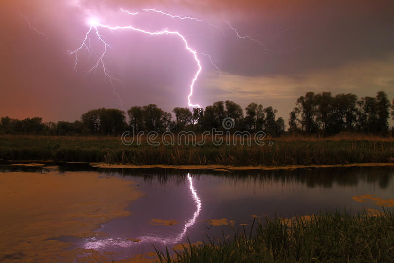 Download Thunderstorm on the river stock image. Image of moon - 36463233