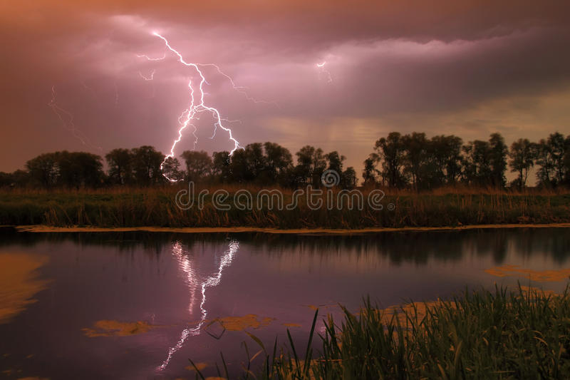 Download Thunderstorm on the river stock photo. Image of clouds - 36463302