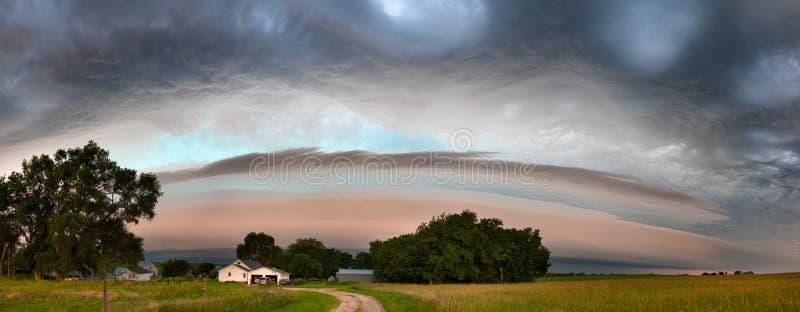 Thunderstorm Rolling Through Nebraska Farmland. An early summer thunderstorm rolls across Nebraska farmland producing high winds and hail royalty free stock images