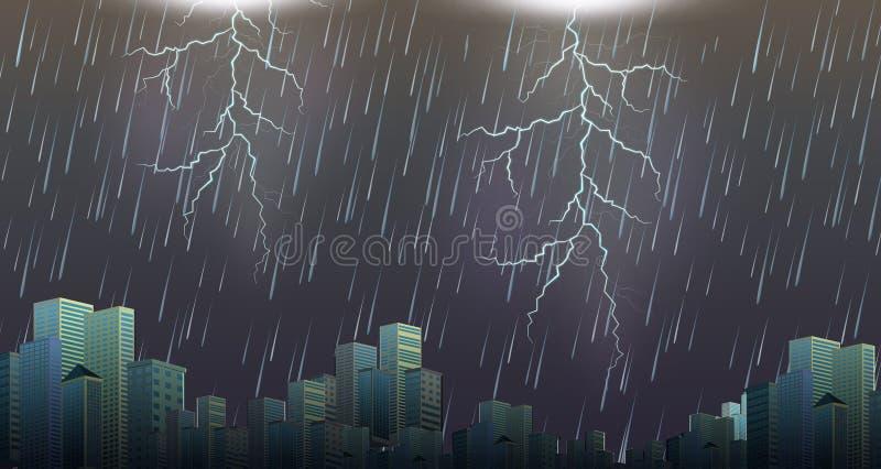 A thunderstorm storm urban scene royalty free illustration