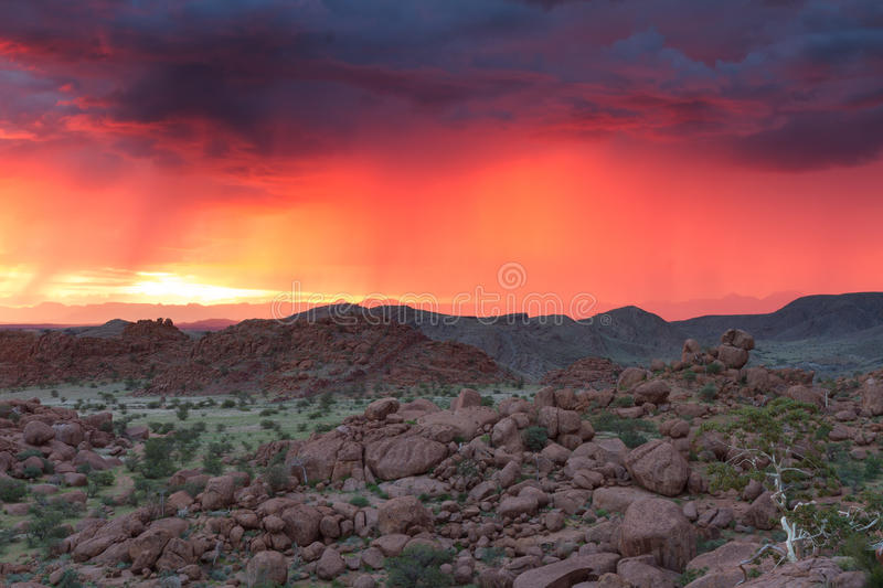 Download Thunderstorm At Sunset In Damaraland Stock Image - Image: 39254811