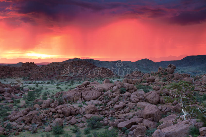 Download Thunderstorm At Sunset In Damaraland Stock Photo - Image: 39747386