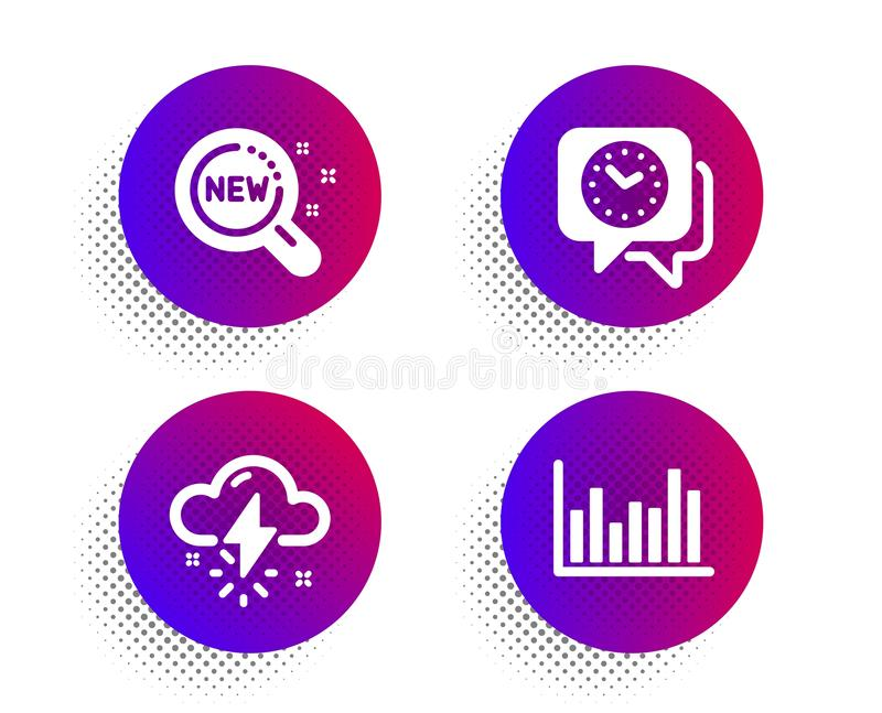 Thunderstorm weather, New products and Clock icons set. Bar diagram sign. Thunder bolt, Search, Time. Vector. Thunderstorm weather, New products and Clock icons vector illustration
