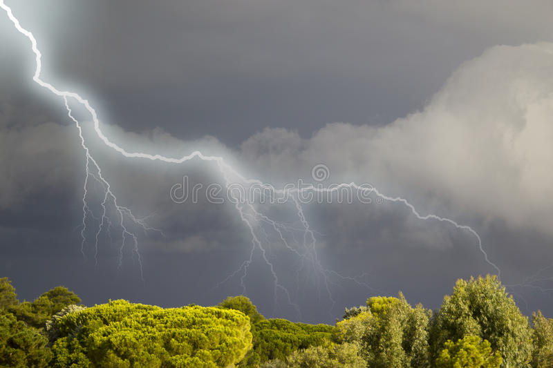 Thunderstorms approaching Corsica stock photography