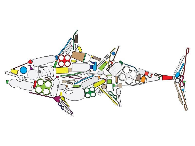 Thunfischaufbau vom Kunststoffabfall vektor abbildung