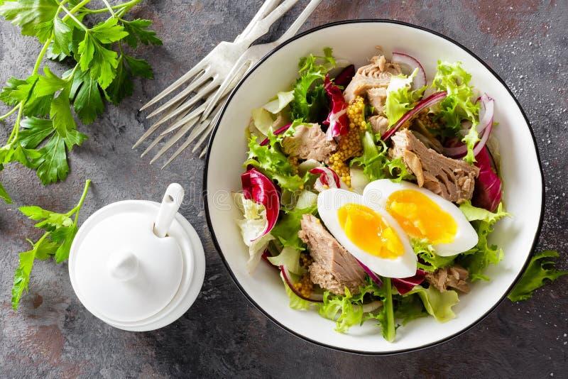 Thunfischsalat in der Schüssel Italienischer Bufala Mozzarella Frischer Salat mit eingemachten Thunfischen Nahrung der gesunden D stockfoto