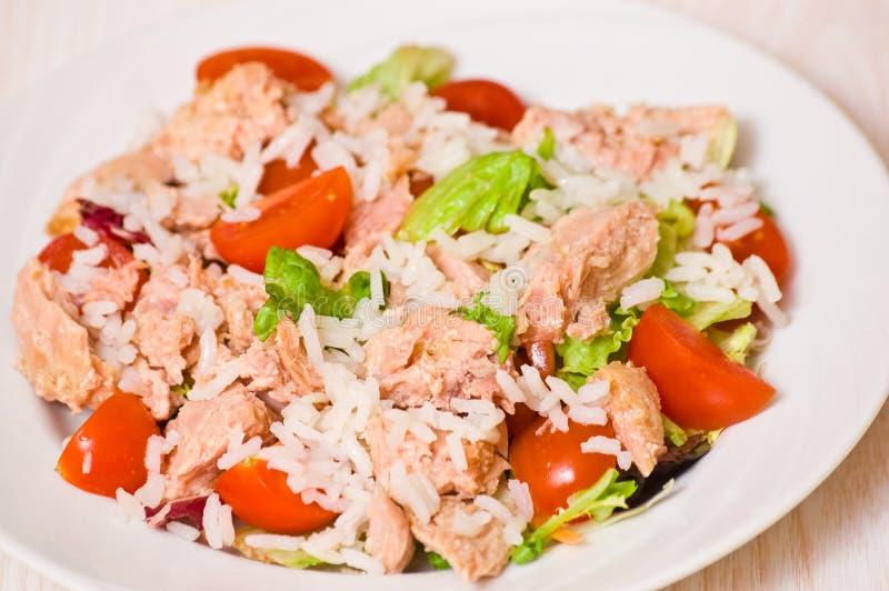 Thunfischsalat mit Reis und Gemüse stockbilder